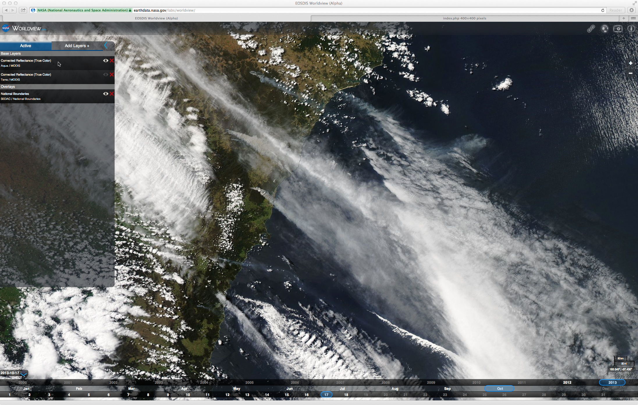 Aqua MODIS true color image