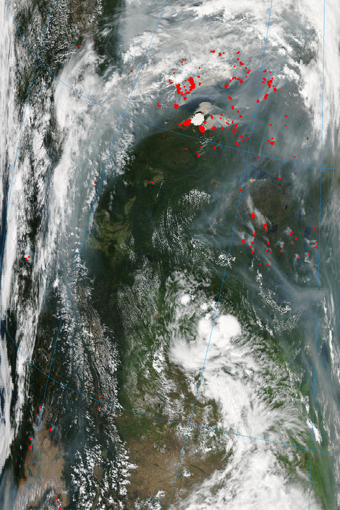 MODIS true-color image of Great Slave Lake with a red-pixel enhancement over the fires.