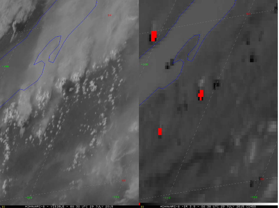 Himawari-8 0.64 μm visible (left) and 3.9 μm shortwave IR (right) images (click to play animation)