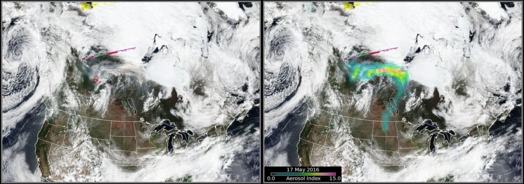 VIIRS hotspot detection (left) and OMPS AI overlay (right) on 17 May (click to enlarge)
