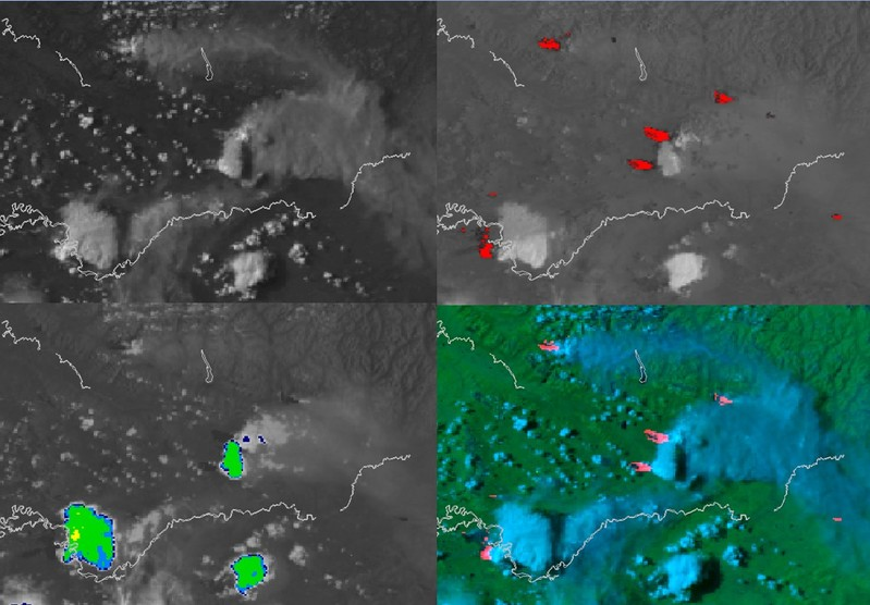 NOAA-18 AVHRR 0.64 µm visible (top left), 3,7 µm shortwave IR (top right), 10.8 µm IR window (bottom left) and false-color RGB composite image (bottom right). [click to enlarge]