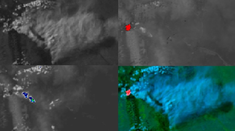 POES 1-km resolution images (upper left: 0.64 µm visible;upper right: 3.8 µm shortwave IR; lower left: 10.8 µm IR window; lower right: false-color RGB composite)