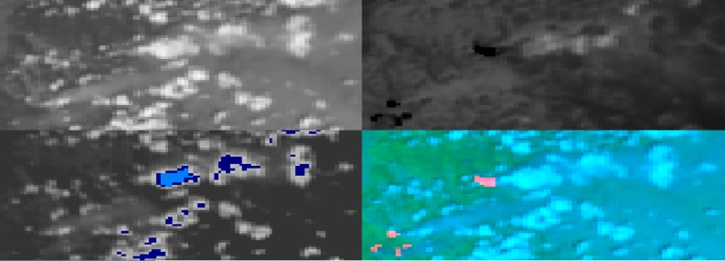 NOAA-19 AVHRR 0.64 µm visible (top left), 3,7 µm shortwave IR (top right), 10.8 µm IR window (bottom left) and false-color RGB composite image (bottom right).