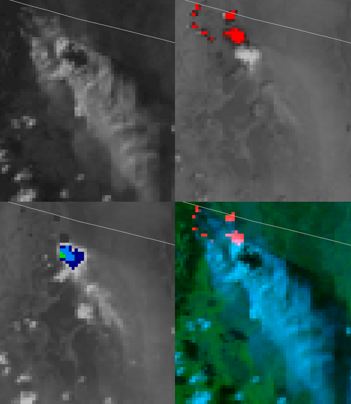NOAA-18 AVHRR 0.64 µm visible (top left), 3.7 µm shortwave IR (top right), 10.8 µm IR window (bottom left) and false-color RGB composite image (bottom right).