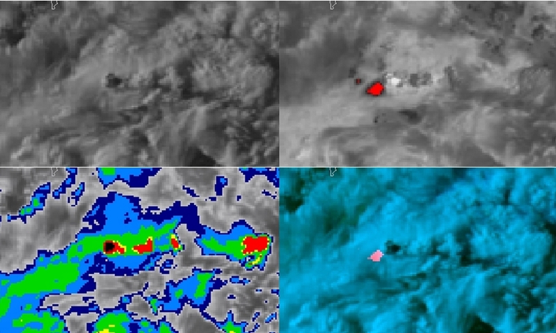 POES AVHRR Visible (upper left), Shortwave Infrared (upper right), Infrared Window (lower left) and false-color RGB (lower right) images [click to enlarge]