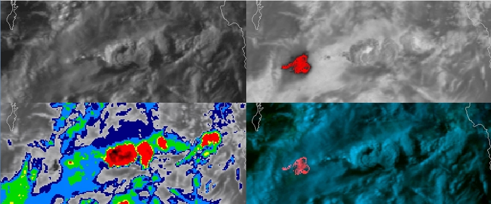 POES AVHRR Visible (upper left), Shortwave Infrared (upper right), Infrared Window (lower left) and false-color RGB (lower right) images [click o enlarge]