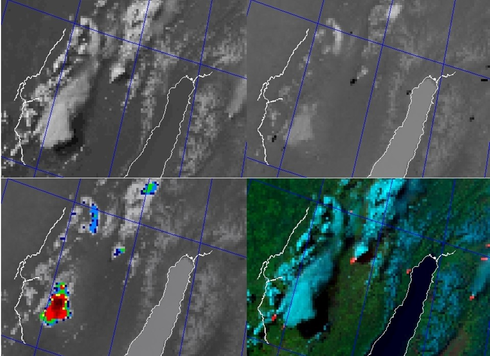 NOAA-19 AVHRR 0.64 µm visible (top left), 3.7 µm shortwave IR (top right), 10.8 µm IR window (bottom left) and false-color RGB composite image (bottom right) [click to enlarge]