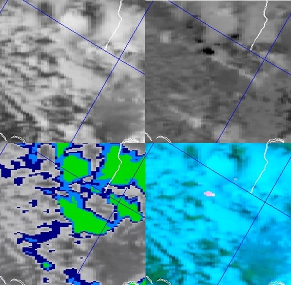 NOAA-19 AVHRR 0.64 µm visible (top left), 3.7 µm shortwave IR (top right), 10.8 µm IR window (bottom left) and false-color RGB composite image (bottom right)