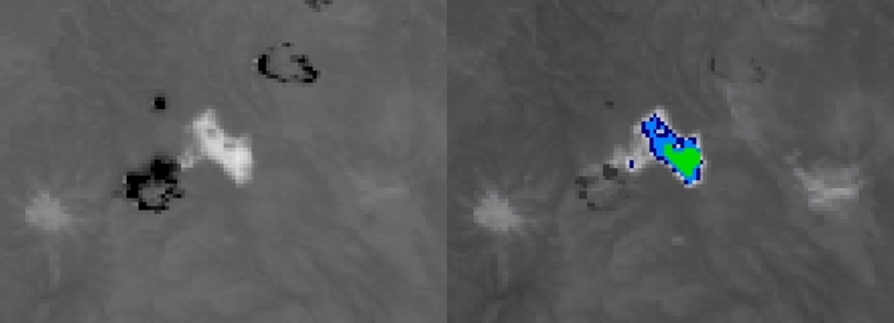 NOAA-19 AVHRR  3.7 µm shortwave IR (left) and 10.8 µm IR window (right)